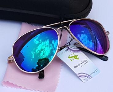 عینک خلبانی شیشه آبی- طرح عینک ریبن آبی